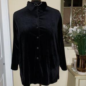 Diane von Furstenberg Plus Size Blck Velour Shirt